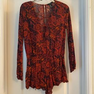 F21 Red/ Black Paisely Romper